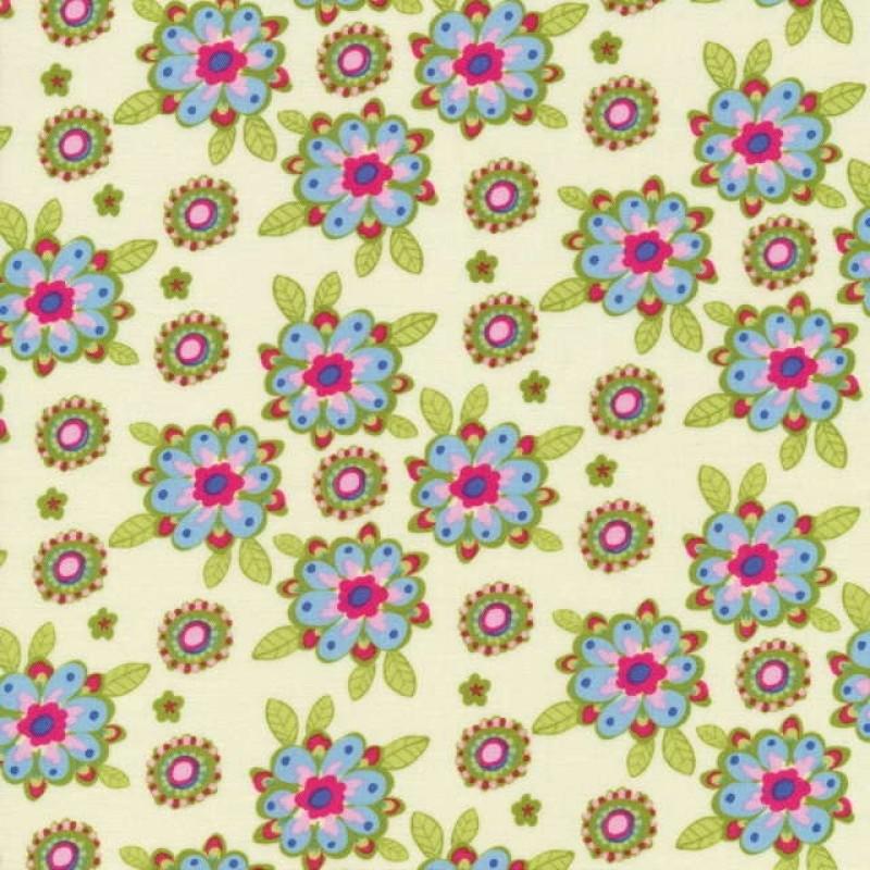 Rest Bomuld m/blomster, creme/lime/lyseblå, 55 cm.-31