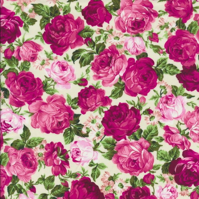 Bomuldspoplin med roser off-white/pink/lyserød-33