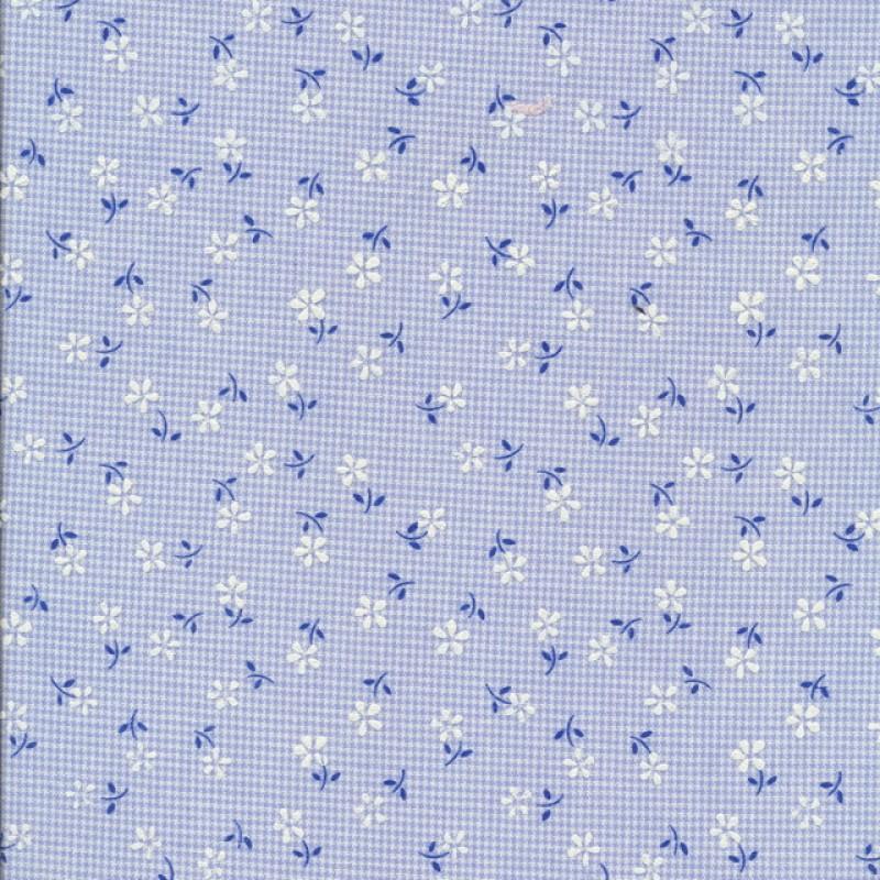 Ternet bomuld/polyester m/blomster, lyseblå-33