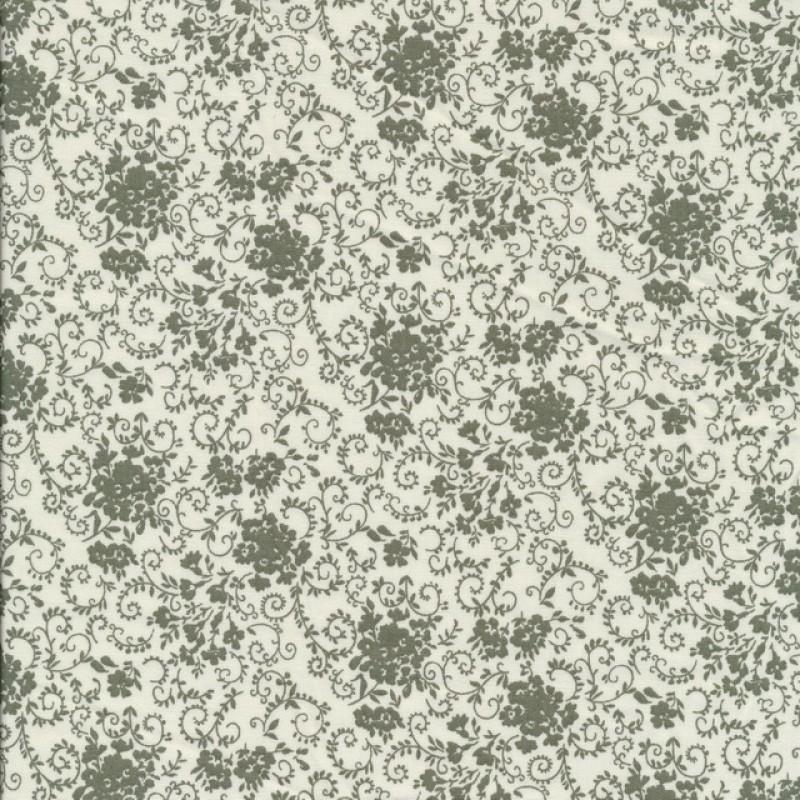 Bomuld m/blomster off-white/støvet grøn-33