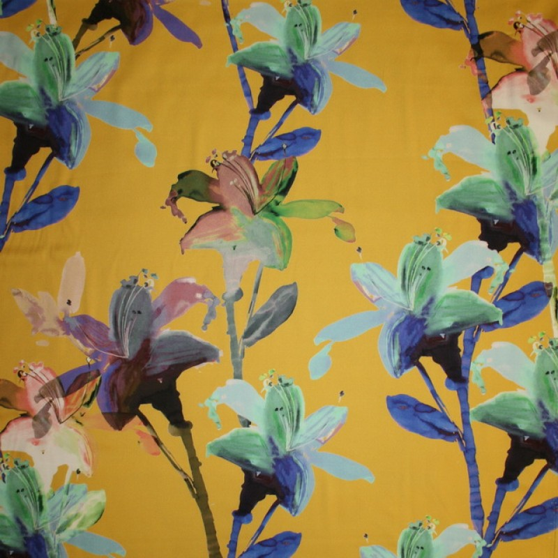 Bomuldssatin m/stræk, carry med blomster-33