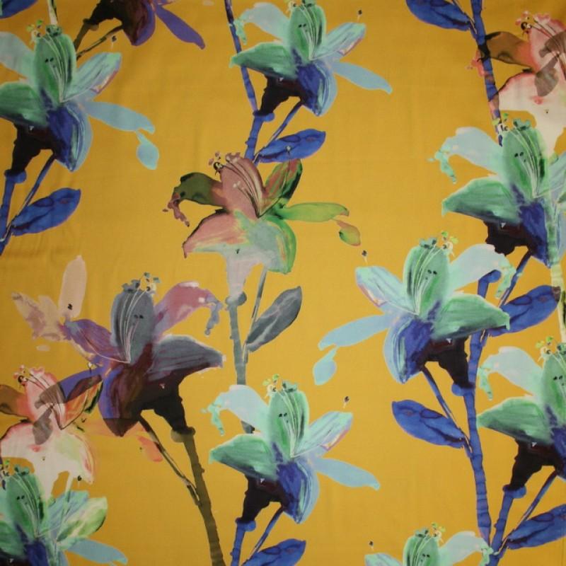 Bomuldssatin m/stræk, carry med blomster