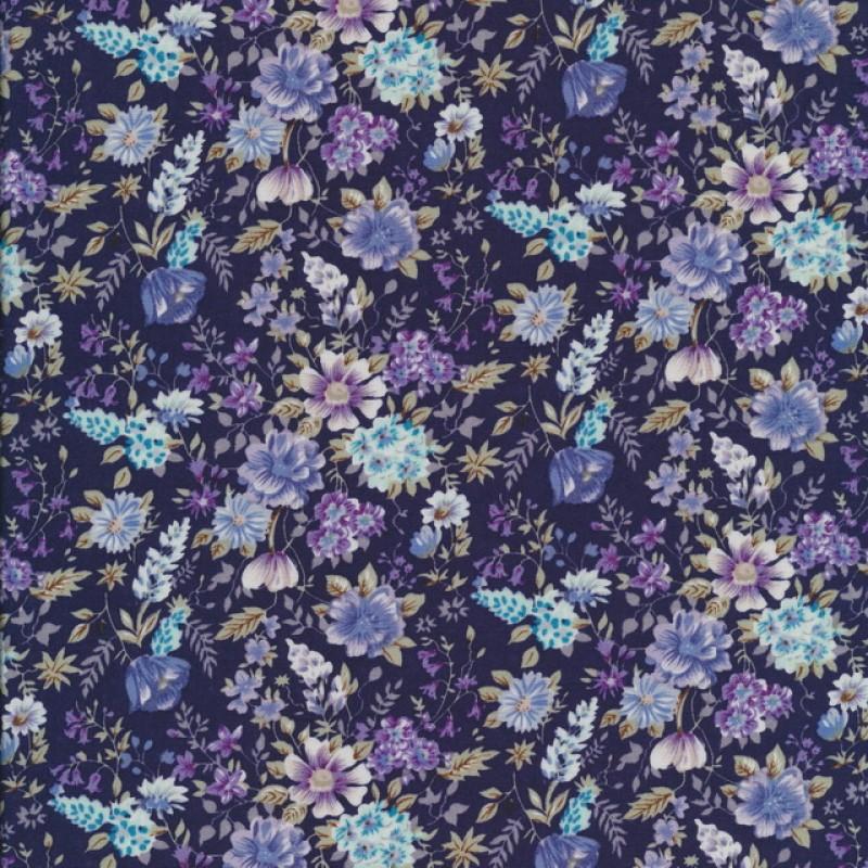 Bomulds-poplin med blomster mørkeblå/denim/lilla-33