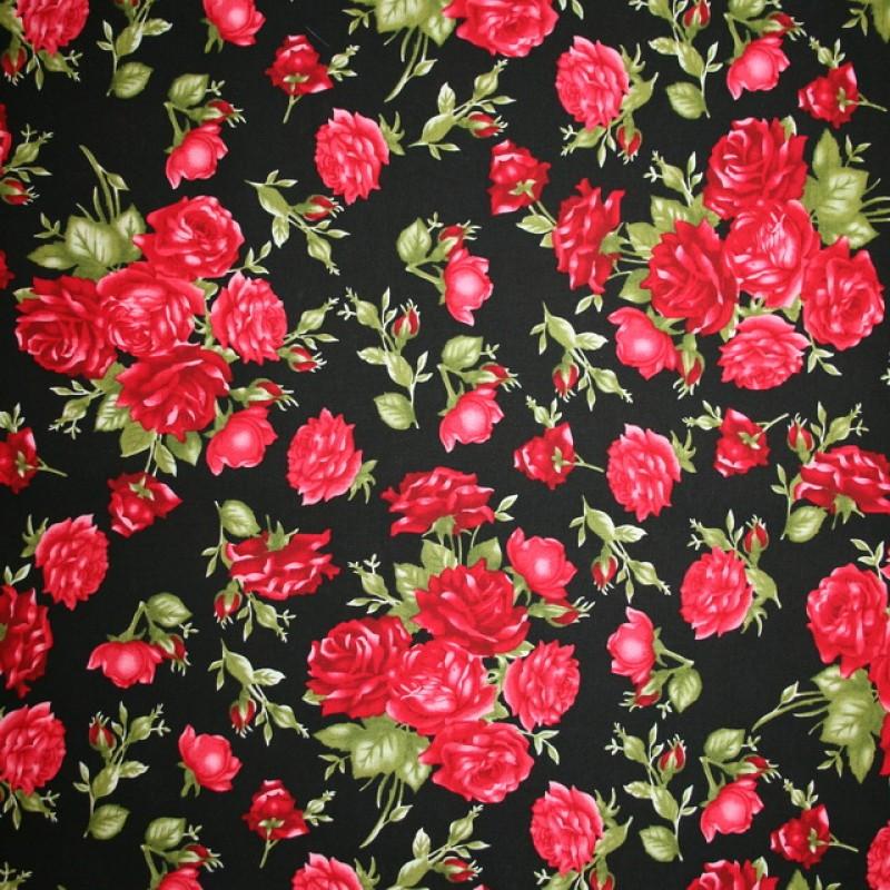 Fast bomuldspoplin med roser i sort rød-35