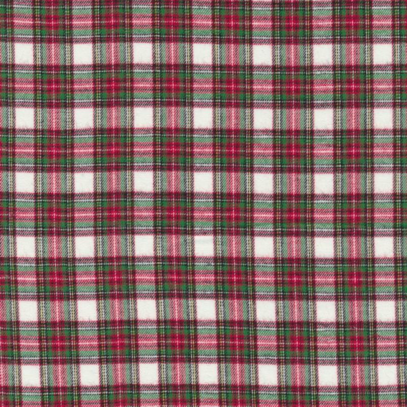 Flonel ternet hvid rød grøn-35