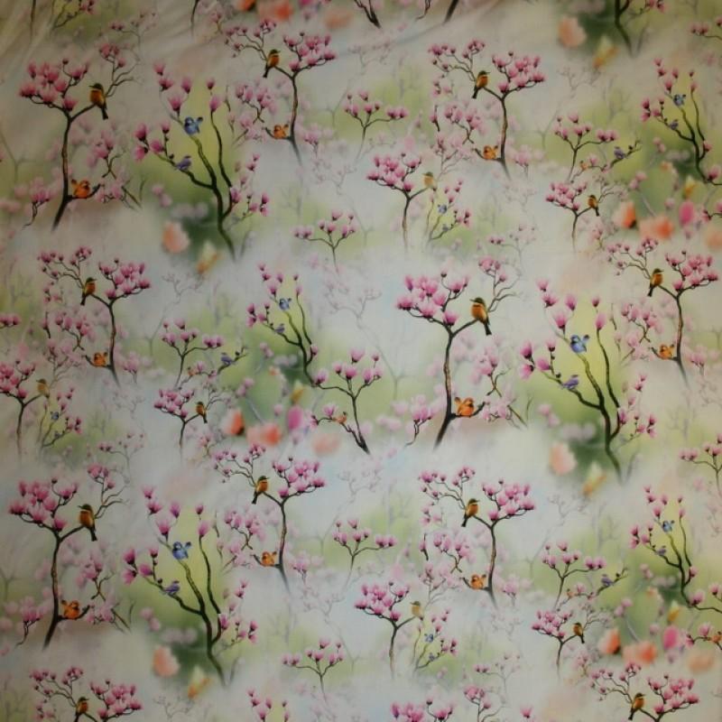 Rest Fast bomuld med digitalt tryk med grene blomster fugle, 15 cm.