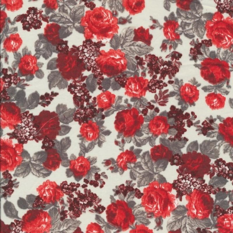Let bomuld med blomster hvid rød grå