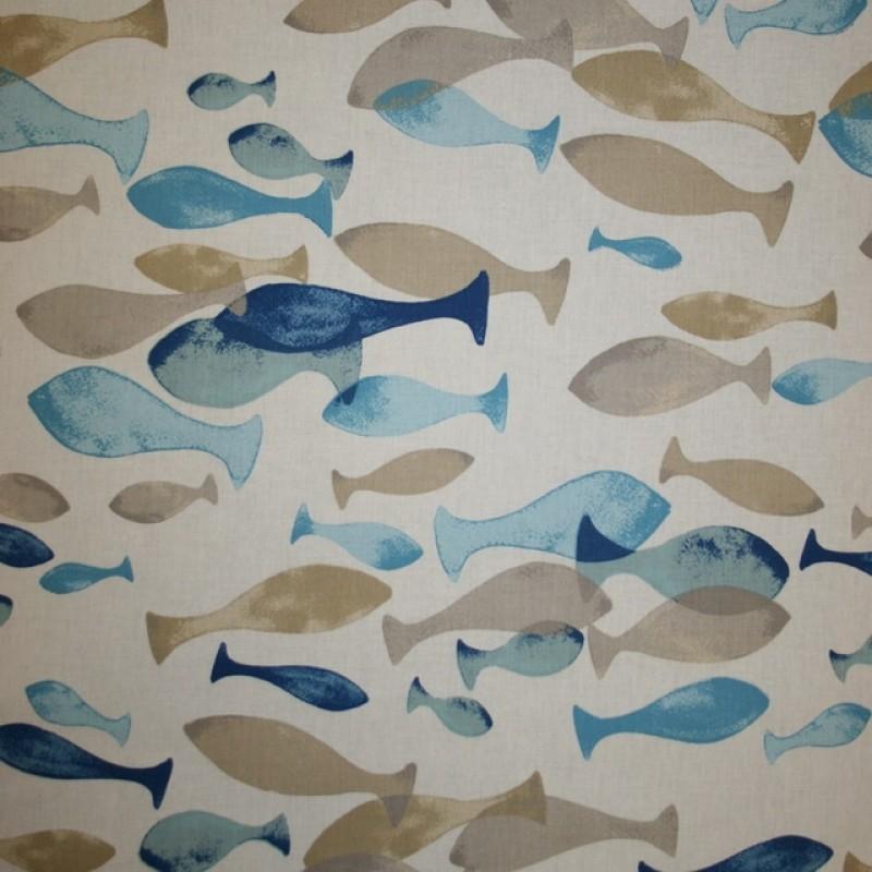 Bomuld med fisk i hvid, sand og blå