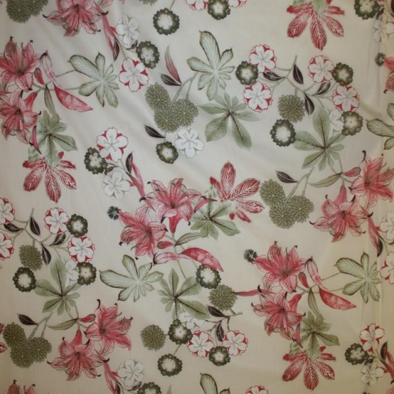 Bomulds-voil blomstret i off-white rosa støvet grøn-37