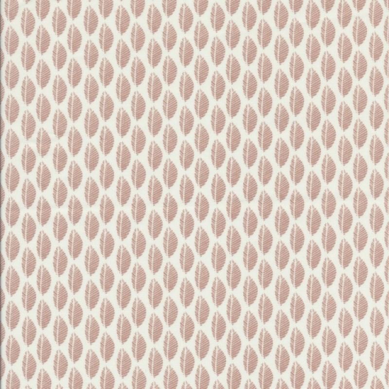 Bomulds poplin med blade hvid og pudder-37