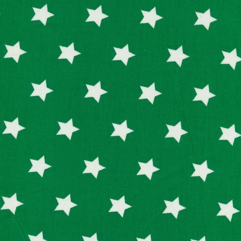 Bomuld med stjerner græsgrøn og hvid-37