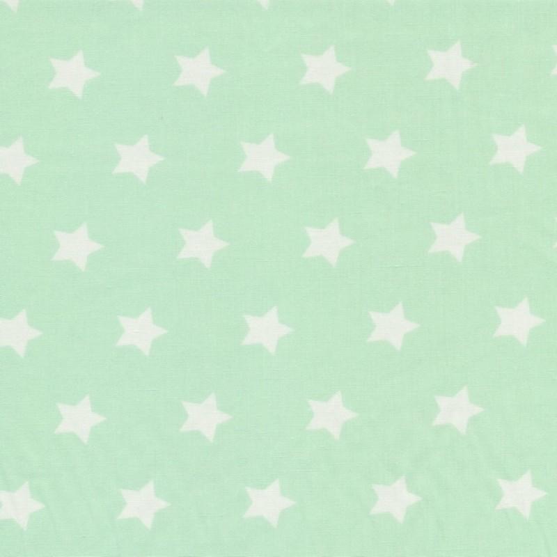Bomuld med stjerner lys mint og hvid-38