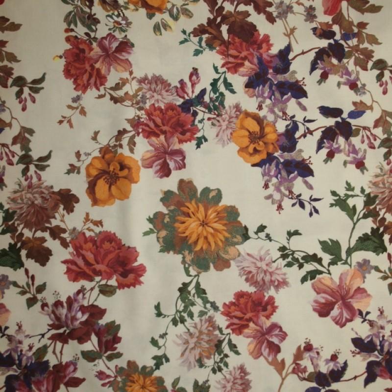 Blomstret bomuld med stræk off-white rosa grøn-33