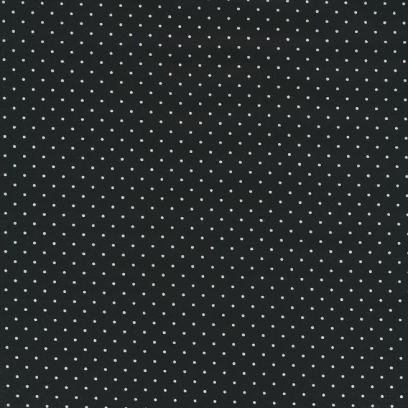 Bomuld m/stræk og hvide små prikker, sort-32