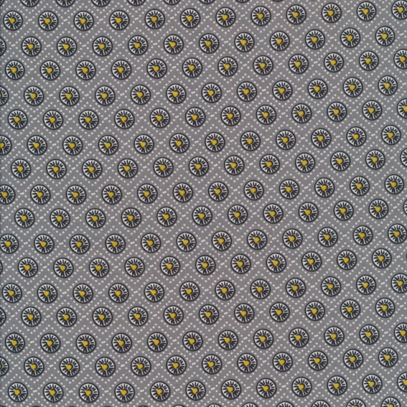 Bomuld med cirkler i grå, sort, lysegrå og gul.-33
