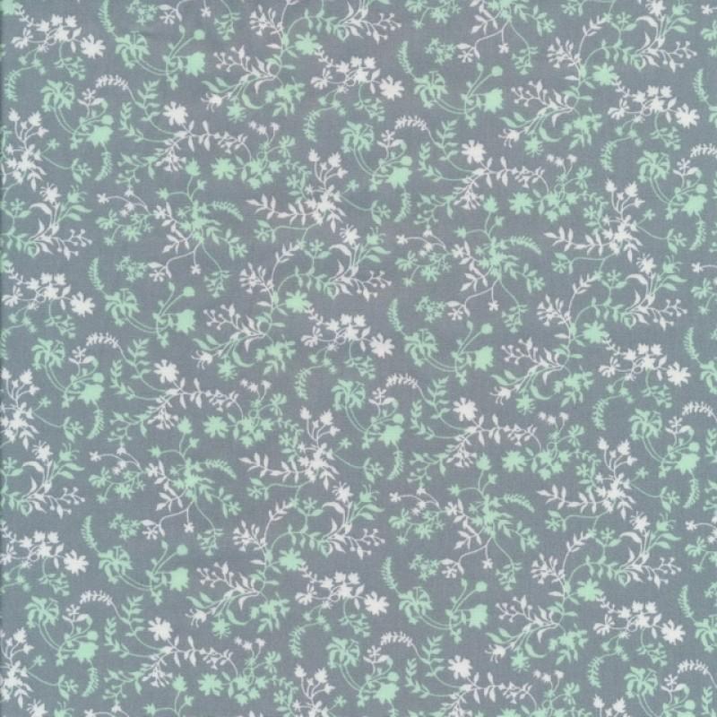 Bomuld med små blomster blade i grågrøn mint hvid-34