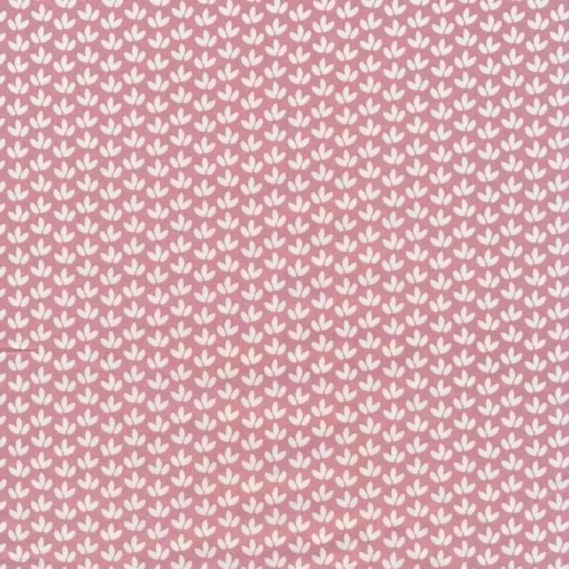 Bomulds poplin med blade i rosa og hvid-38