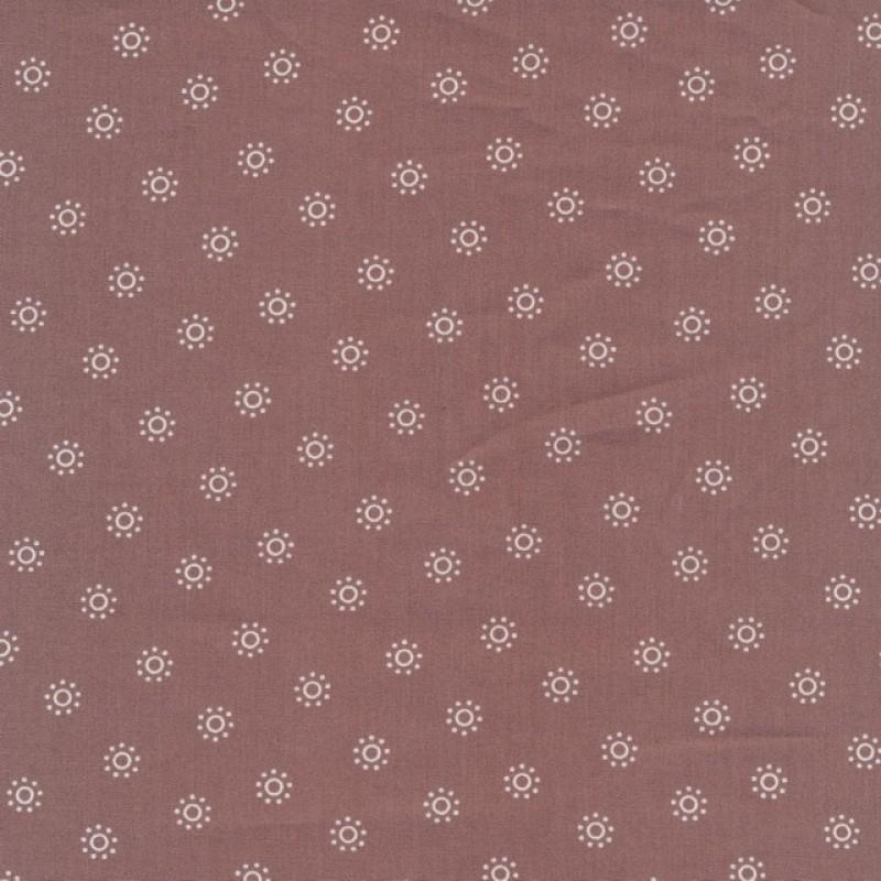 Bomulds poplin med cirkler i gl. rosa og hvid-39