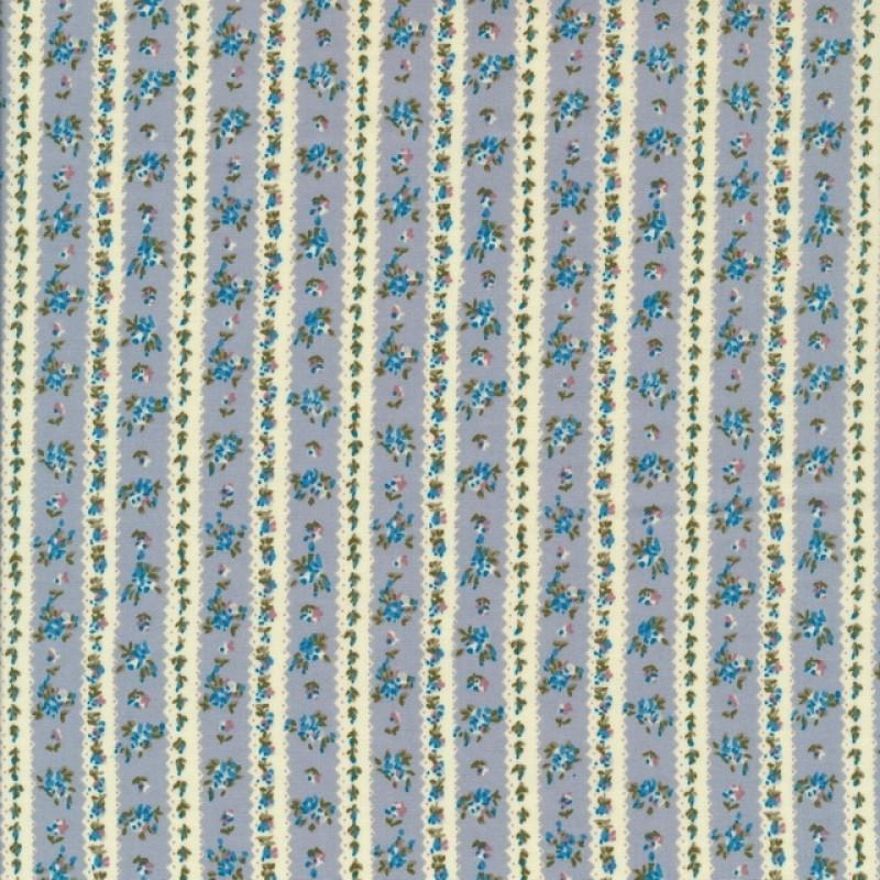 Bomulds poplin stribet og små-blomstret i offwhite støvet blå rosa-311