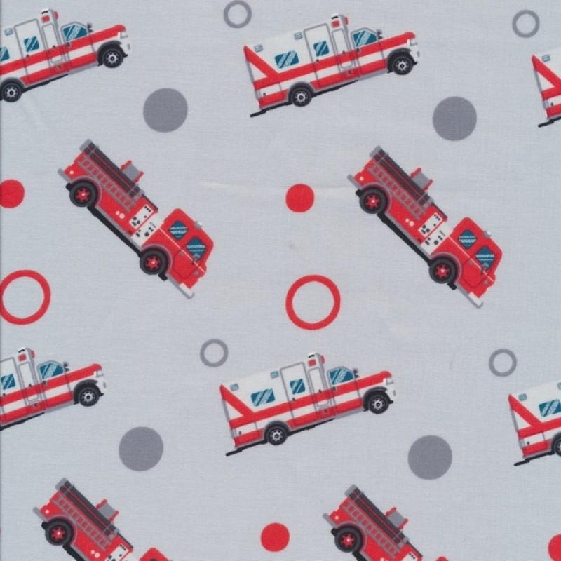 Bomuld med brandbil og ambulance i lysegrå-36