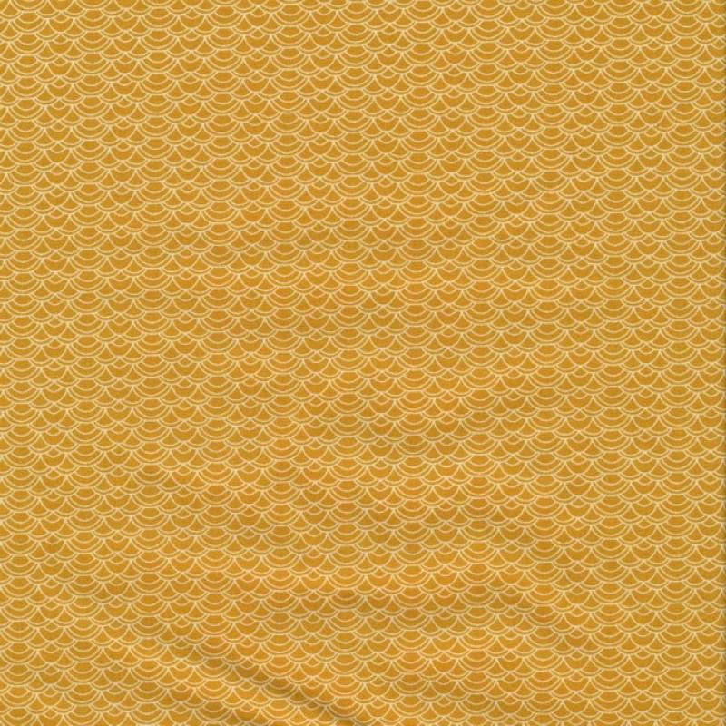 Bomulds poplin i carry med små hvide buer-312