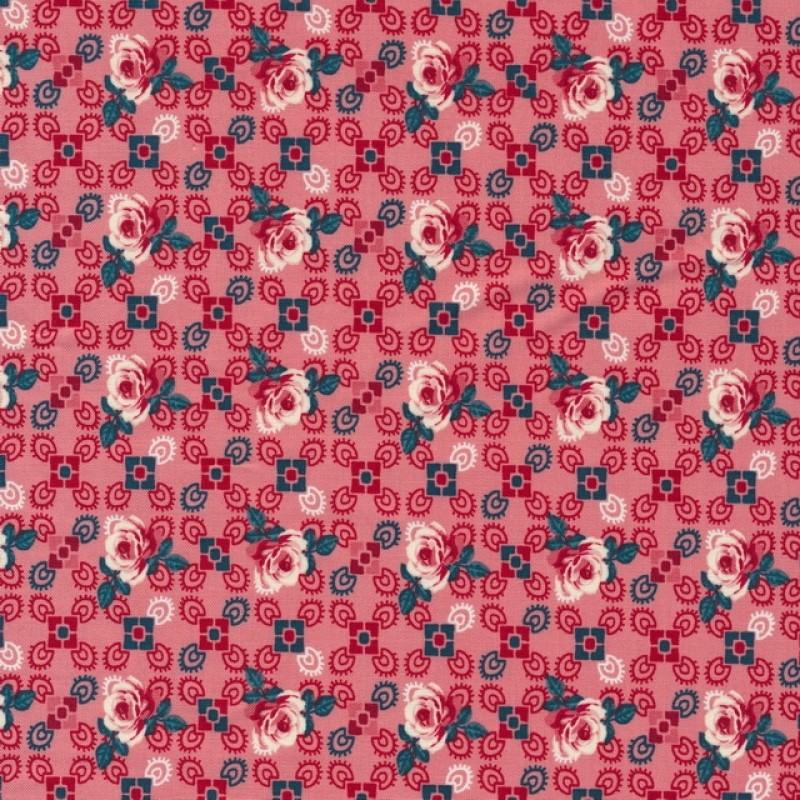 Bomuld med roser og firkanter i koral-rød-34