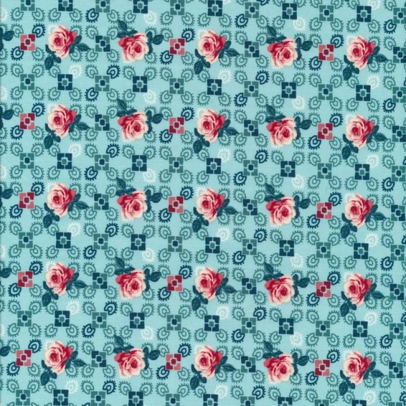 Bomuld med roser og firkanter i aqua