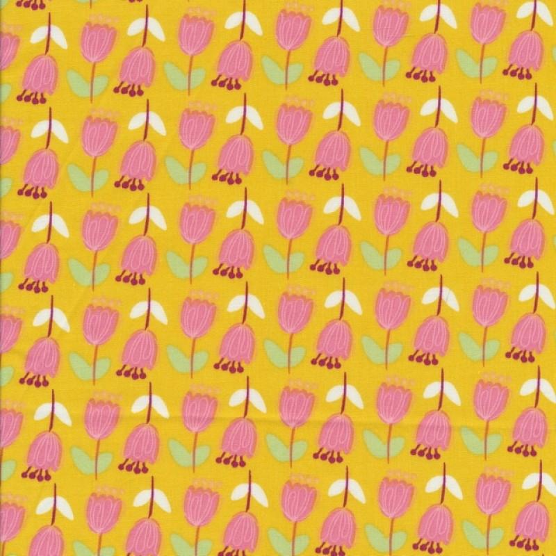 Bomulds-poplin carry-gul med lyserøde blomster-35