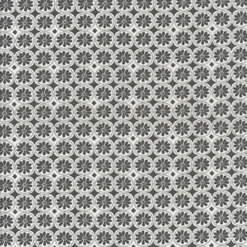 Bomuld med cirkel og blomst i grå og hvid.-36