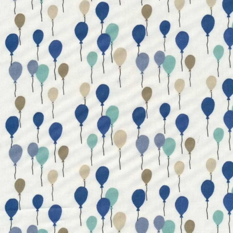Bomuld med balloner i knækket hvid grøn blå sand-37