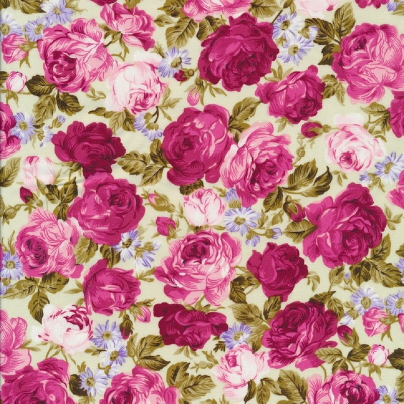 Bomuldspoplin med roser off-white/rosa/lyserød-34