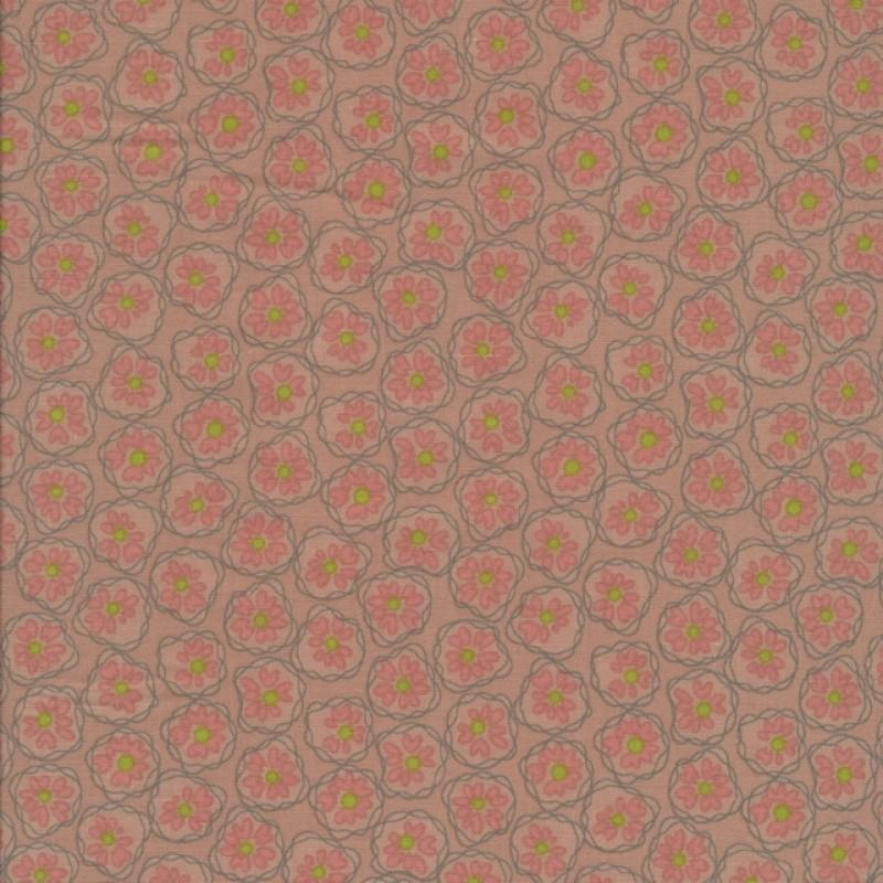 Bomuld med blomster i cirkel, pudder-311