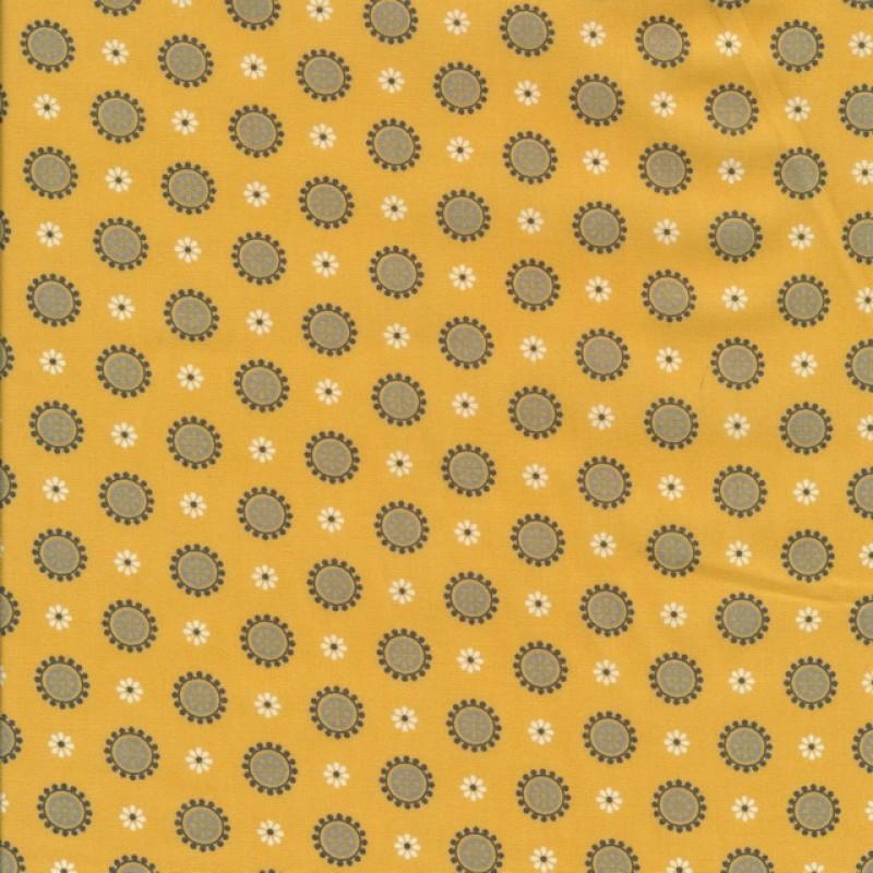 Bomuldspoplin med blomster og cirkler i støvet gul-38
