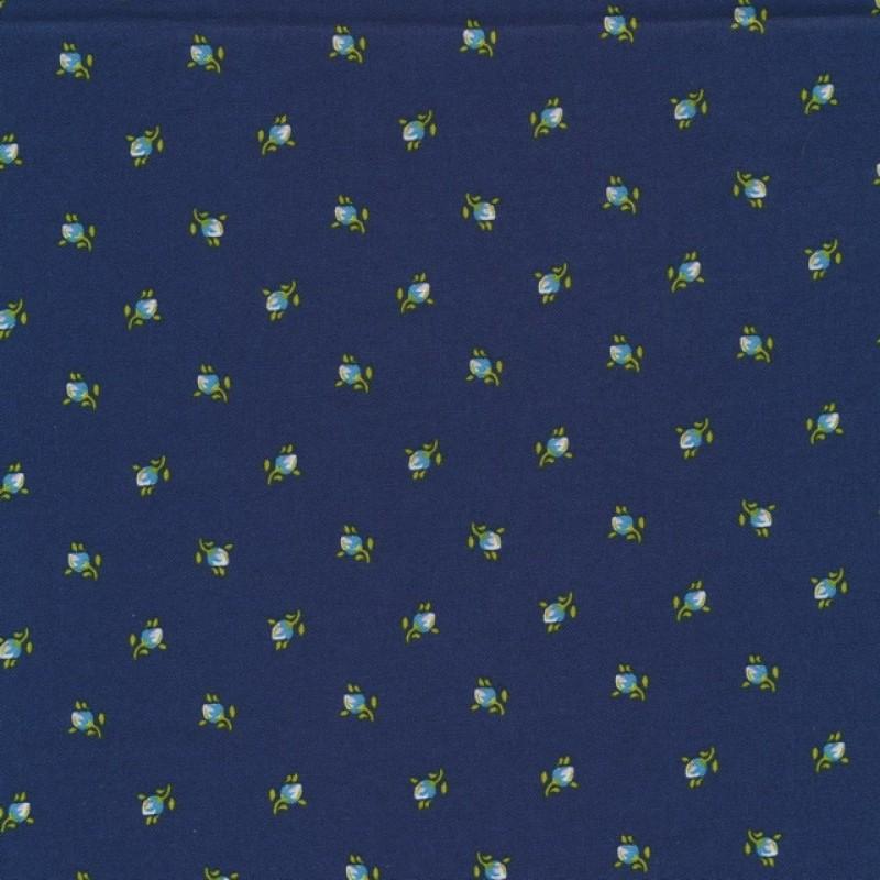 Bomuld med små blomster i støvet mørkeblå-39