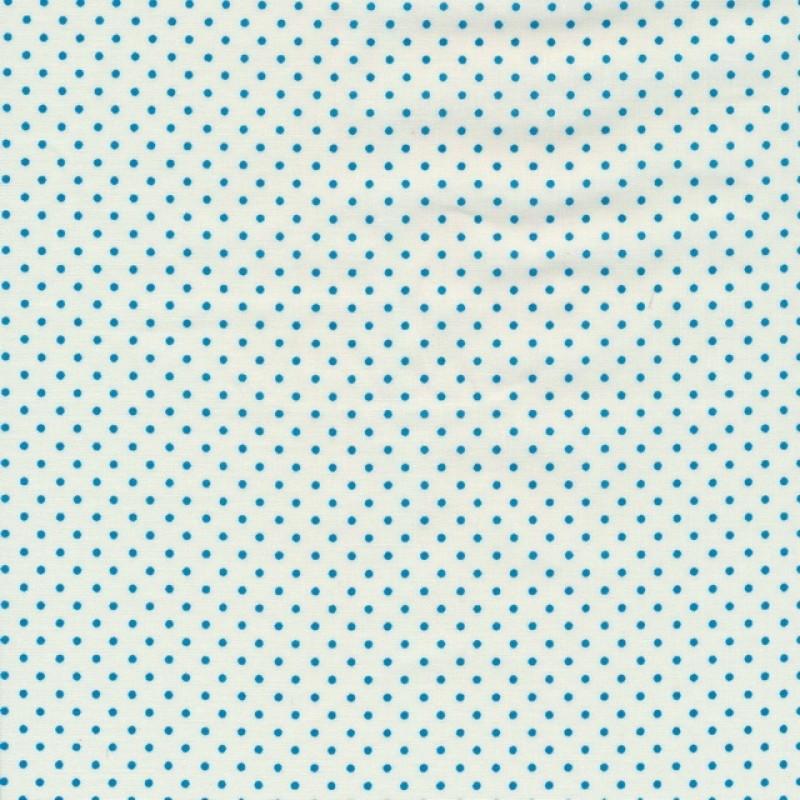 Bomuld med små prikker i knækket hvid og turkis