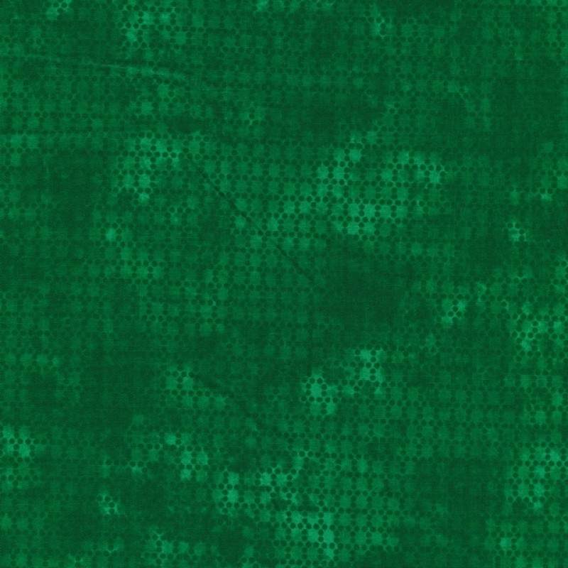 Bomuld batik med prikker i grøn og mørk grøn-313