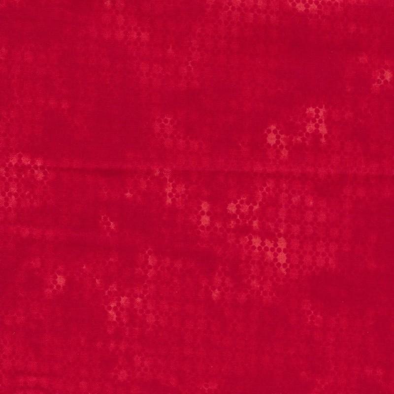 Bomuld batik med prikker i rød og koral-314
