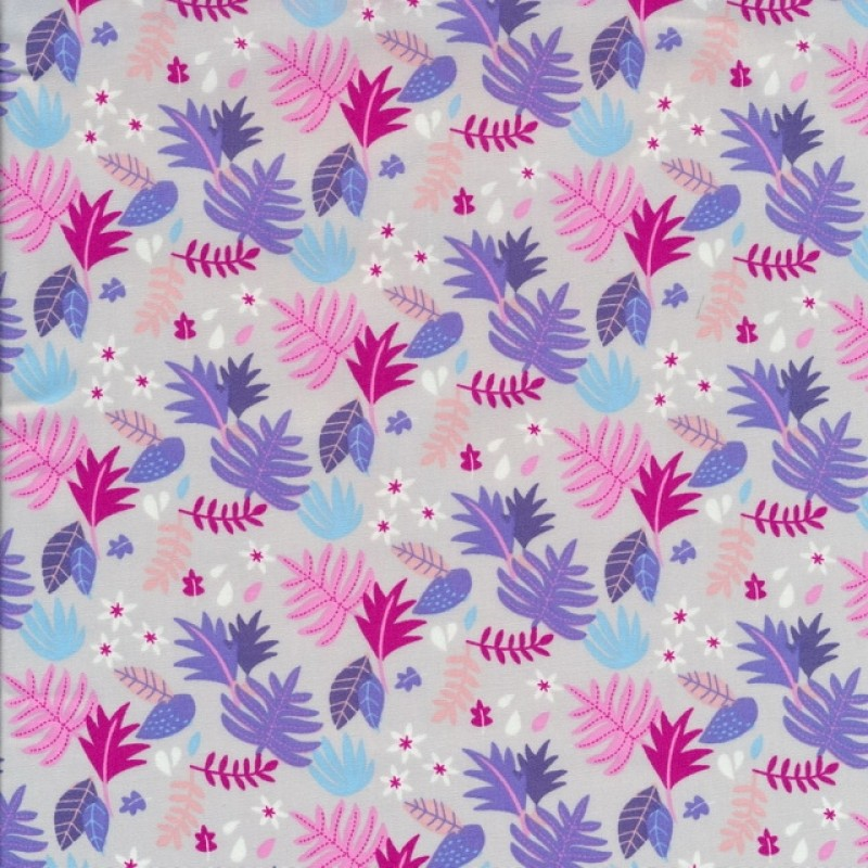 Bomuldspoplin med blade i lysegrå pink lyselilla