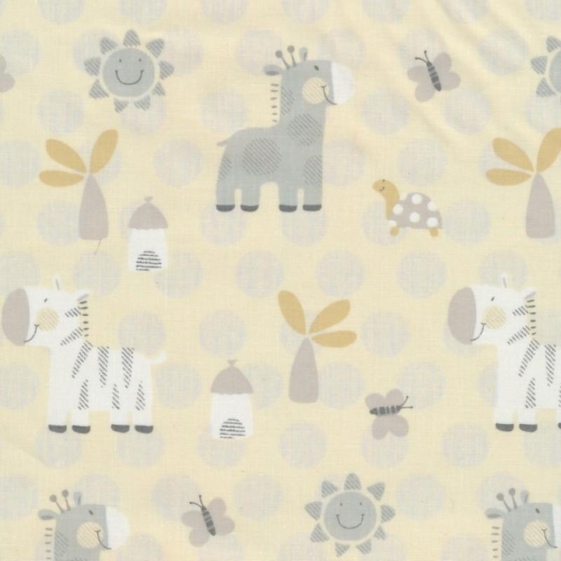 Bomuldspoplin offwhite med zebra og giraf-316