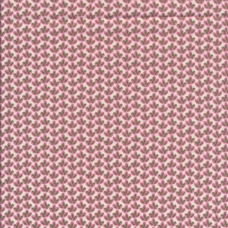 Bomuldspoplin med lille blad i hvid, rosa og army