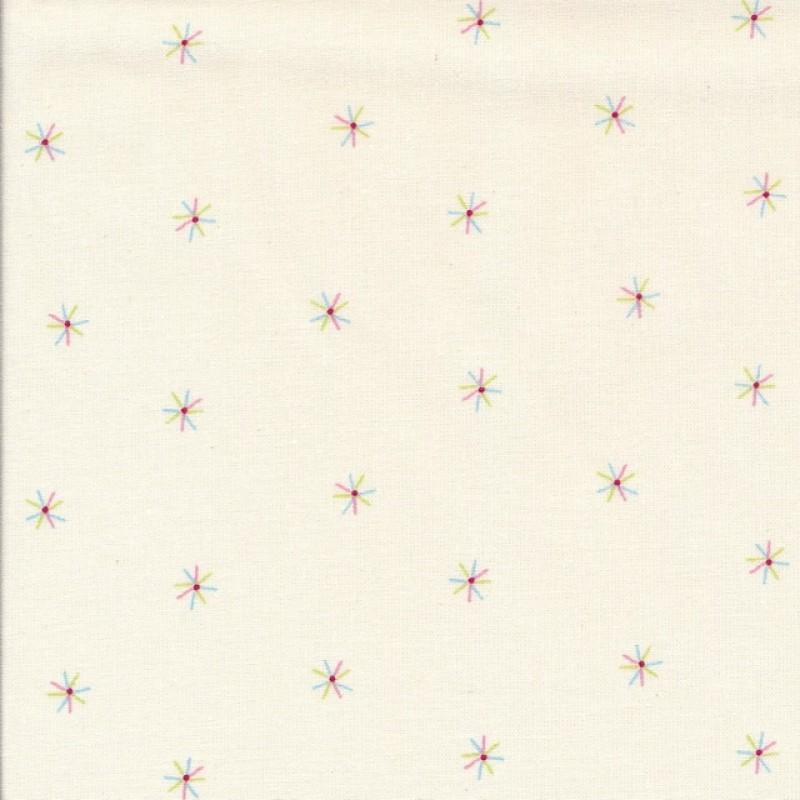 Bomuld i offwhite med lille stjerne i pastel farver-319