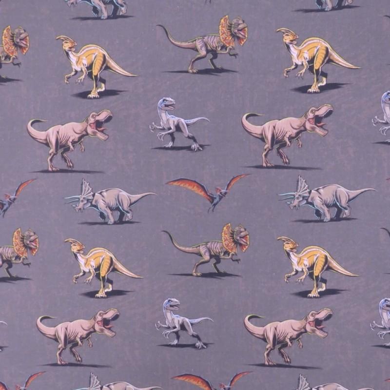 Bomuld i grå/brun med dinosaurus-38