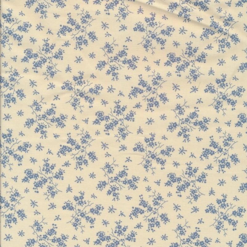 Bomuld m/grene med blomster i offwhite/denim