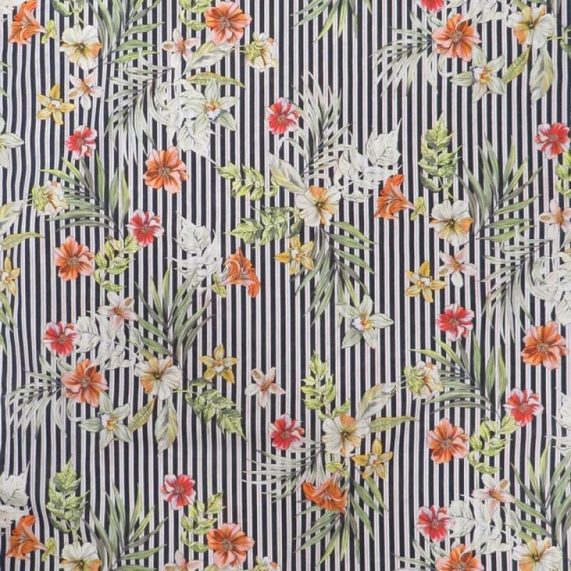 Let bomuld med digital print med striber og blomster