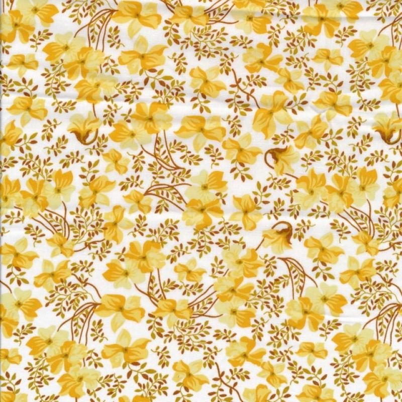 Bomulds poplin i hvid med blomster i støvet gul og carry