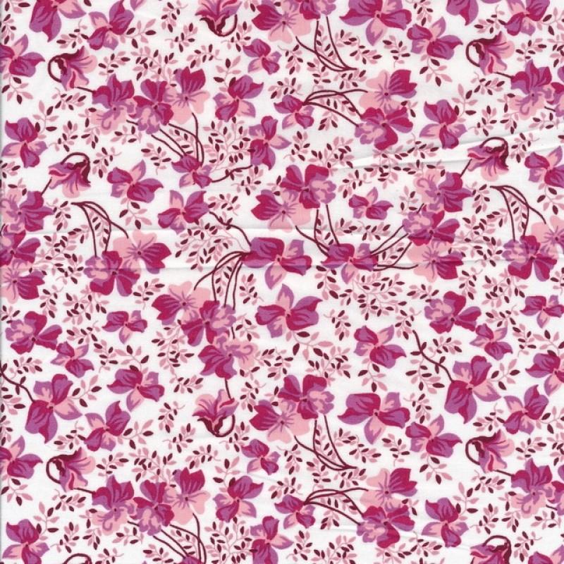 Bomulds poplin i hvid med blomster i lyserød og pink