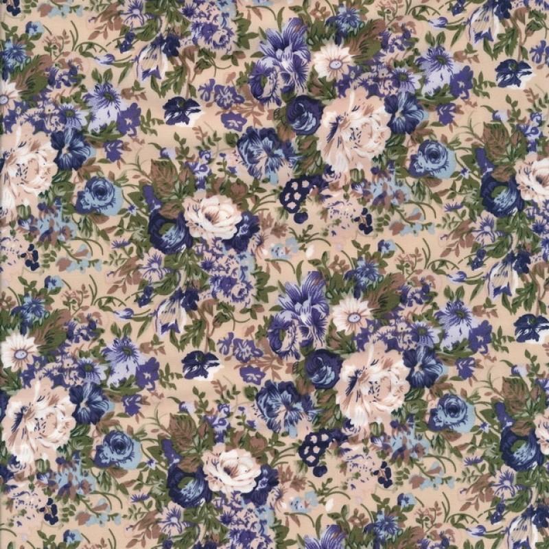 Bomulds-poplin med blomster pudder blå army