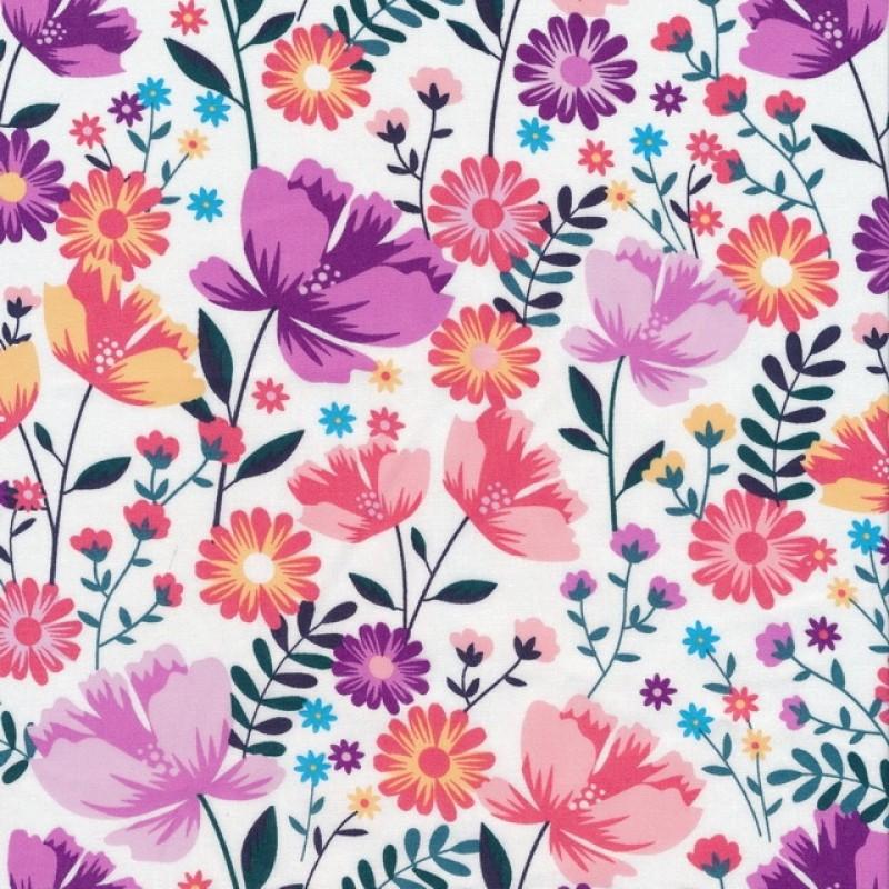 Bomulds poplin i hvid med blomster i cerisse, lilla, koral
