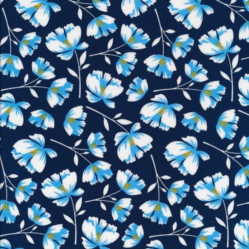 Bomuld med blomster i marine hvid blå og carry