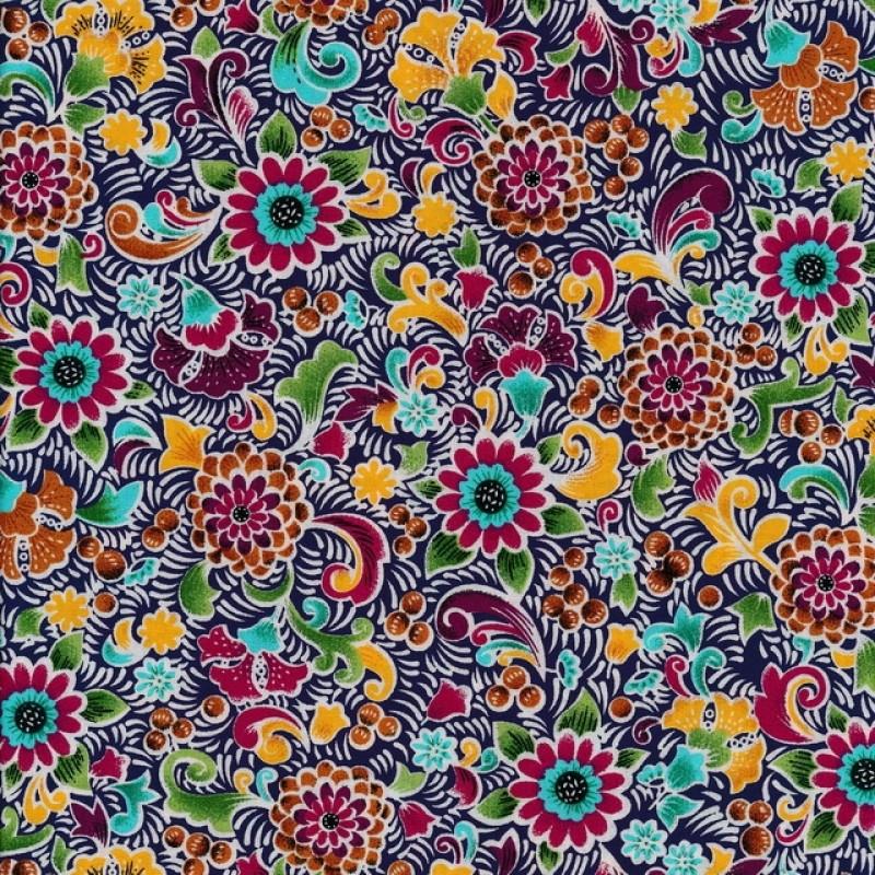Fast stof i bomuld i marine med multifarvet blomster/mønster